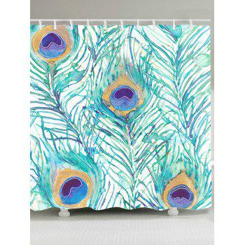 Waterproof Peacock Feathers Printed Shower Curtain - LIGHT GREEN W59 INCH * L71 INCH