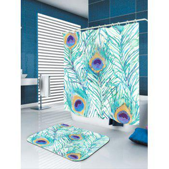 Waterproof Peacock Feathers Printed Shower Curtain - W71 INCH * L71 INCH W71 INCH * L71 INCH