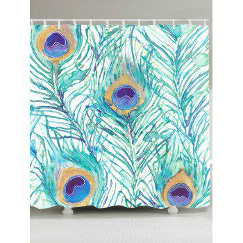 Waterproof Peacock Feathers Printed Shower Curtain - LIGHT GREEN W79 INCH * L71 INCH