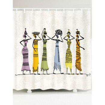 African Girl Pattern Waterproof Shower Curtain - COLORFUL W59 INCH * L71 INCH