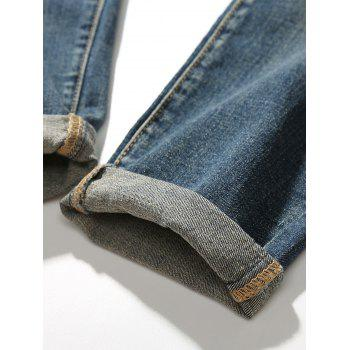 Drawstring Faded Tapered Jeans - 30 30
