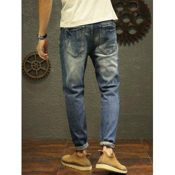 Drawstring Faded Tapered Jeans - 32 32