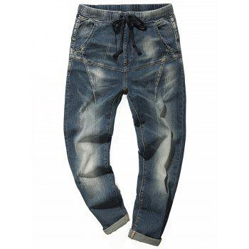 Drawstring Faded Tapered Jeans - BLUE 34