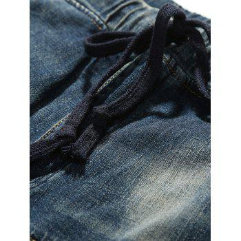 Drawstring Faded Tapered Jeans - 36 36