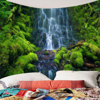 Waterproof Layered Waterfall Mountain Wall Decor Tapestry - GREEN GREEN