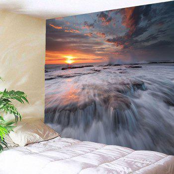 Sunset Torrential Waterfall Wall Decor Waterproof Tapestry - W59 INCH * L51 INCH W59 INCH * L51 INCH