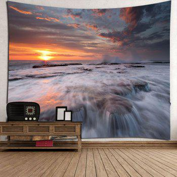 Sunset Torrential Waterfall Wall Decor Tapis étanche - Brun Foncé W79 INCH * L71 INCH
