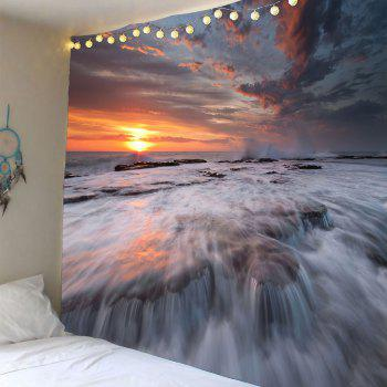 Sunset Torrential Waterfall Wall Decor Waterproof Tapestry - DEEP BROWN W79 INCH * L71 INCH
