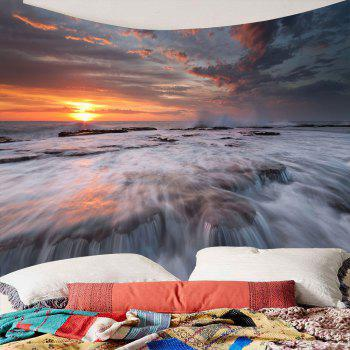 Sunset Torrential Waterfall Wall Decor Tapis étanche - Brun Foncé W79 INCH * L79 INCH