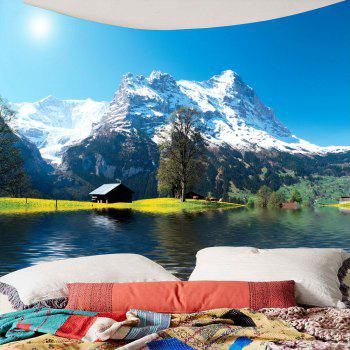 Imperméable Snow Mountains Lake Cottage Hanging Tapestry - Vert W59 INCH * L51 INCH