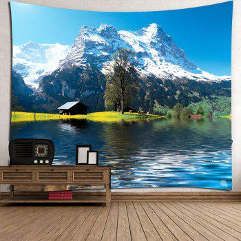 Imperméable Snow Mountains Lake Cottage Hanging Tapestry - Vert W59 INCH * L59 INCH