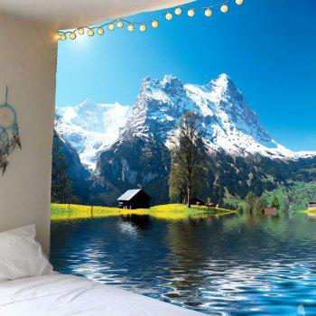 Waterproof Snow Mountains Lake Cottage Hanging Tapestry - GREEN W71 INCH * L71 INCH