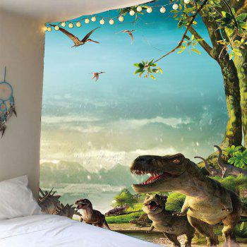 Wall Art Dinosaurs Printed Waterproof Tapestry - GREEN W79 INCH * L59 INCH