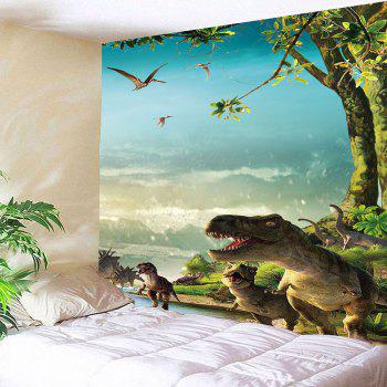 Wall Art Dinosaurs Printed Waterproof Tapestry - GREEN W71 INCH * L71 INCH