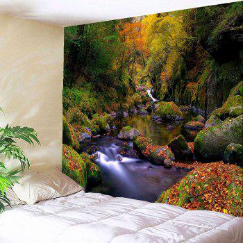 Mountain Forest Stream Wall Decor Waterproof Tapestry - W71 INCH * L71 INCH W71 INCH * L71 INCH