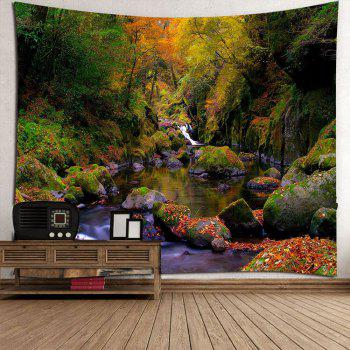 Mountain Forest Stream Wall Decor Tapis étanche - Vert W79 INCH * L71 INCH