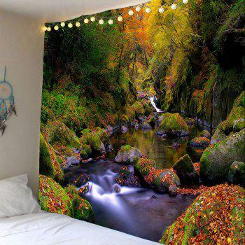Mountain Forest Stream Wall Decor Waterproof Tapestry - GREEN W79 INCH * L71 INCH