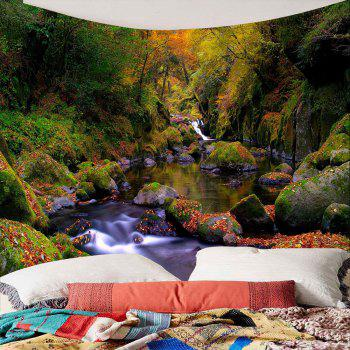 Mountain Forest Stream Wall Decor Waterproof Tapestry - GREEN W79 INCH * L79 INCH