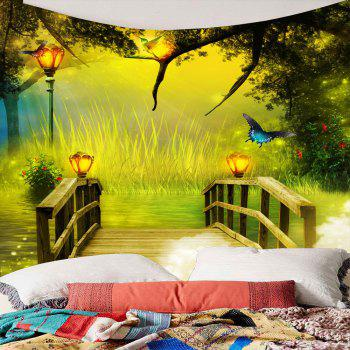 Wonderland forest Wooden Bridge Waterproof Hanging Tapestry - W79 INCH * L59 INCH W79 INCH * L59 INCH