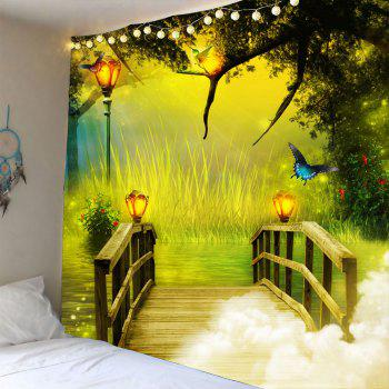 Wonderland forest Wooden Bridge Waterproof Hanging Tapestry - GREEN W79 INCH * L71 INCH