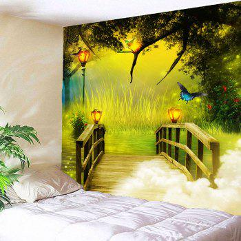 Wonderland forest Wooden Bridge Waterproof Hanging Tapestry - GREEN W79 INCH * L79 INCH