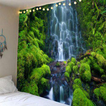 Waterproof Layered Waterfall Mountain Wall Decor Tapestry - GREEN W59 INCH * L59 INCH