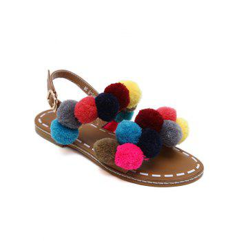 Buckle Strap Colorful Pom Pom Sandals - BROWN BROWN