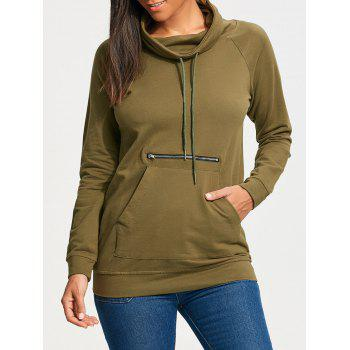 Raglan Sleeve Kangaroo Sweatshirt with Drawstring