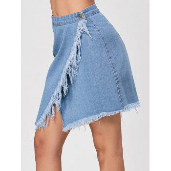 High Waist Frayed Denim Wrap Skirt