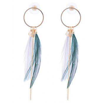 Feather Metal Link Chain Circle Drop Earrings