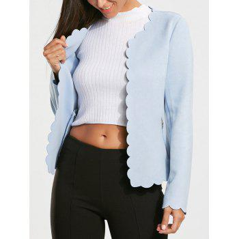 Short Scalloped Blazer Jacket with Open Front