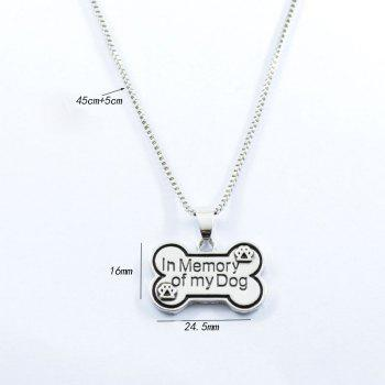 Bone Memory Dog Claw Footprint Charm Necklace - Argent