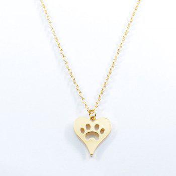 Claw Footprint Charm Heart Pendant Necklace
