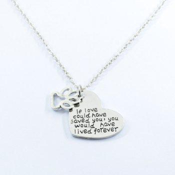 Claw Footprint Love Heart Pendant Necklace