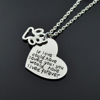 Collier Pendentif Claw Love Love Heart - Argent