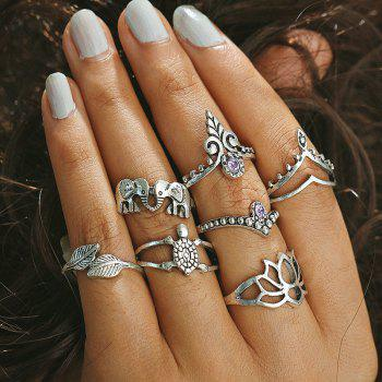 Rhinestone Tortoise Elephant Leaf Finger Ring Set