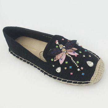 Rhinestone Canvas Espadrille Slip On Shoes