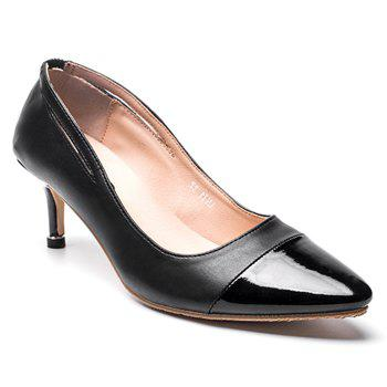 Kitten Heel PU Leather Pointed Toe Pumps