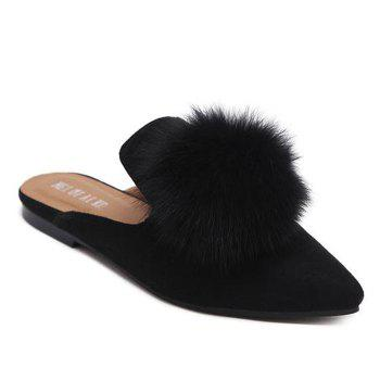 Pompon Pointed Toe Slippers - BLACK 38