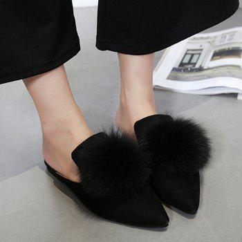 Pompon Pointed Toe Chintillons - Noir 39