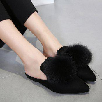 Pompon Pointed Toe Slippers - BLACK 40
