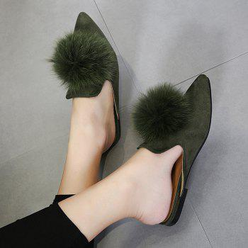 Pompon Pointed Toe Slippers - ARMY GREEN 39