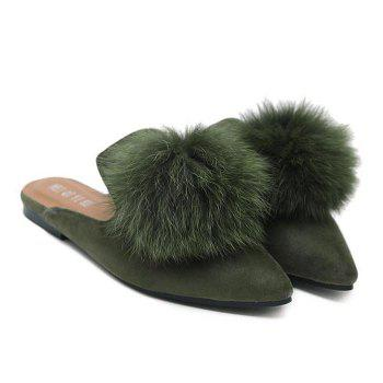 Pompon Pointed Toe Slippers - ARMY GREEN 40