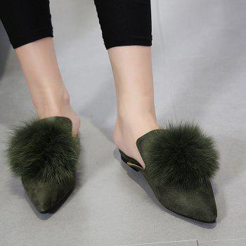 Pompon Pointed Toe Slippers - ARMY GREEN 37