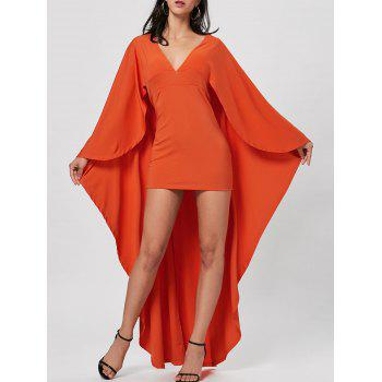 Plunge Neck Cape Sheath Dress