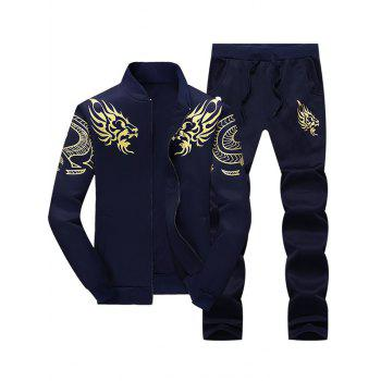 Totem Dragon Print Jacket and Sweatpants Twinset - PURPLISH BLUE PURPLISH BLUE