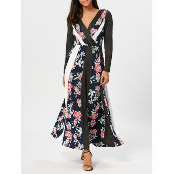 Floral Printed Panel Maxi Surplice Dress