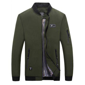 Casual Zipper Up Bomber Jacket - ARMY GREEN ARMY GREEN