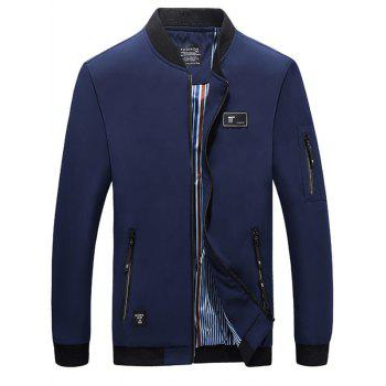 Casual Zipper Up Bomber Jacket - DEEP BLUE DEEP BLUE