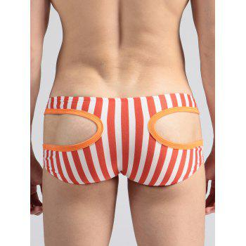 Hollow Out U Pouch Stripe Briefs - ORANGE / WHITE ORANGE / WHITE
